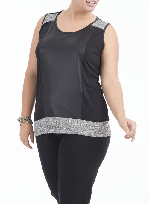 Sleeveless Pleather Front Top, Grey, hi-res