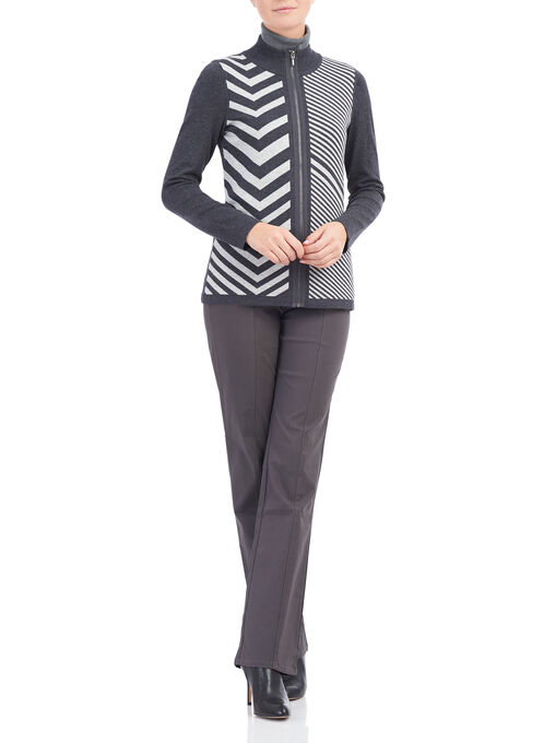 Zig Zag Print Knit Cardigan , Grey, hi-res