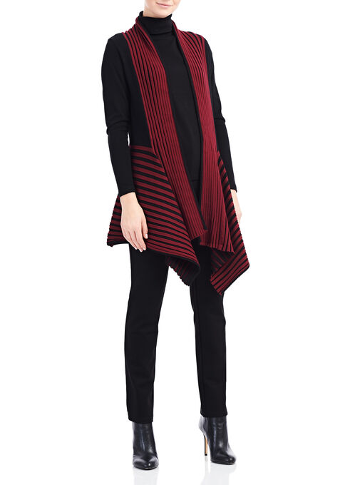 3/4 Sleeeve Rib Knit Cardigan, Red, hi-res