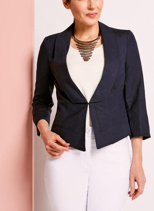 3/4 Sleeve Linen Blazer, Blue, hi-res