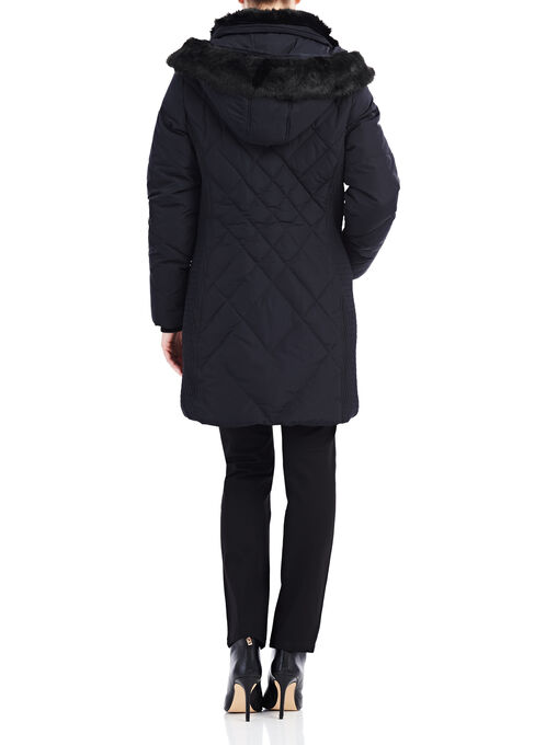 Novelti Faux Fur Down Coat , Black, hi-res