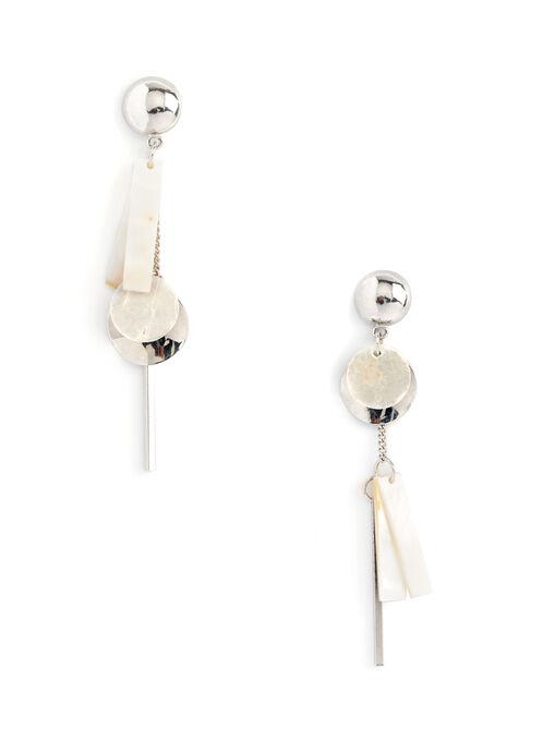 Geometric Dangle Earrings, Silver, hi-res
