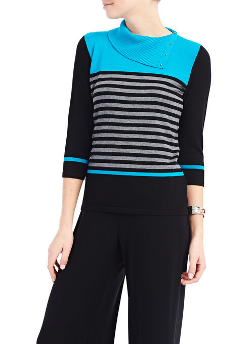 Split Collar Stripe Print Sweater, Blue, hi-res