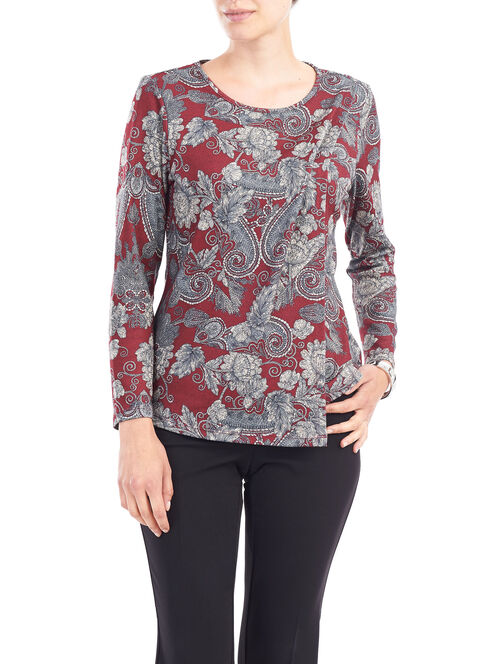 Paisley Print Long Sleeve Top, Red, hi-res
