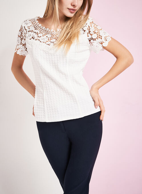 Textured Embroidered Lace Top, Off White, hi-res