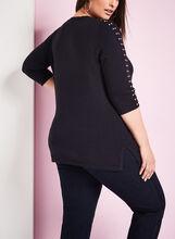 Studded V-Neck Sweater, Blue, hi-res