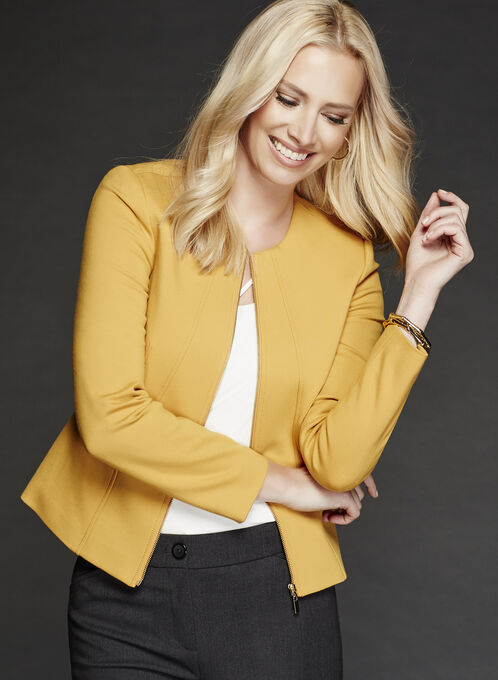 Zipper Trim Ponte Jacket, Yellow, hi-res