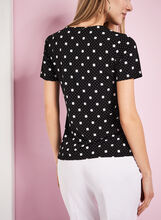 Dot Print Ruffle Front Top, Black, hi-res
