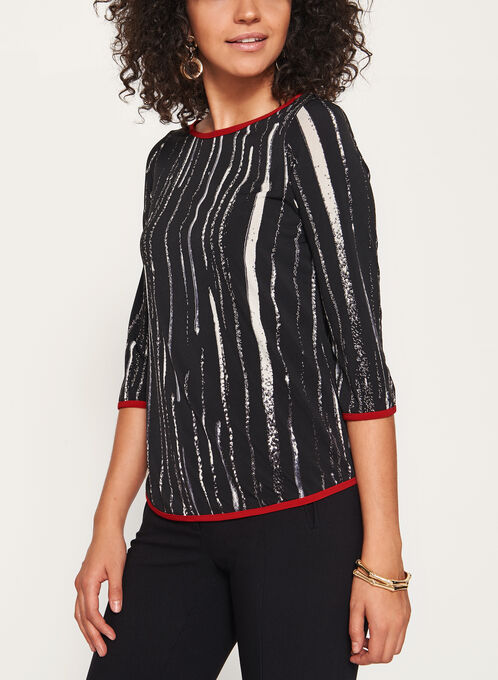 Abstract Print 3/4 Sleeve Top , Black, hi-res