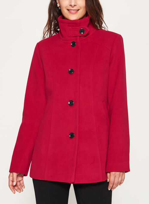 Marcona - Wool Like Fall Coat, Red, hi-res