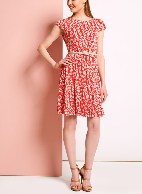 Graphic Print Belted Fit & Flare Dress, Orange, hi-res