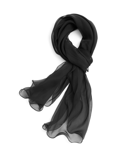 Solid Sheer Frill Scarf, Black, hi-res