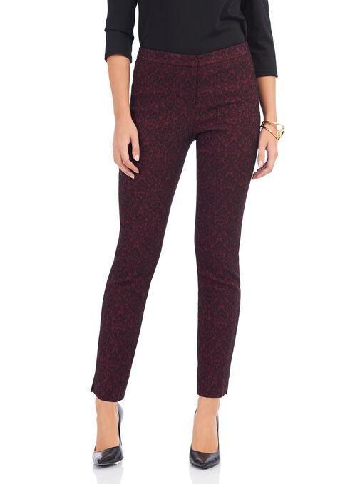 Jacquard 7/8 Pants , Red, hi-res