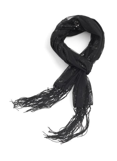 Sequin & Fringe Evening Wrap, Black, hi-res