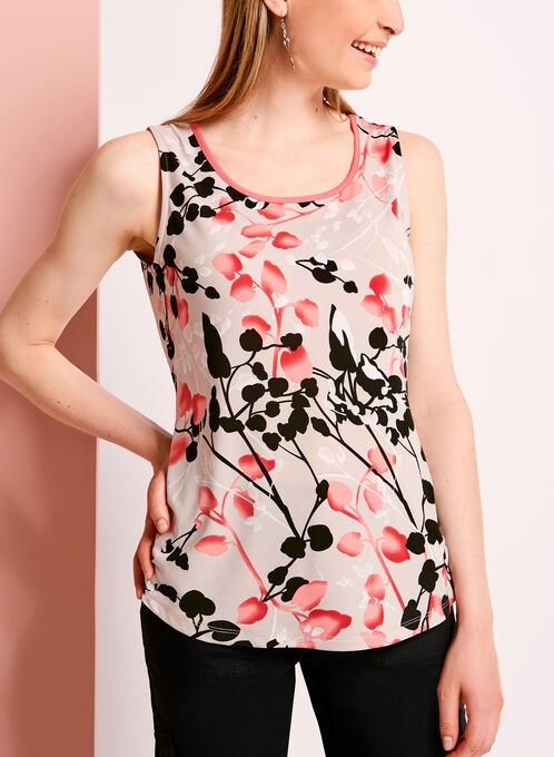 Floral Vine Print Sleeveless Blouse, Grey, hi-res