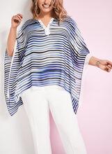 Stripe Print Poncho Blouse, Blue, hi-res