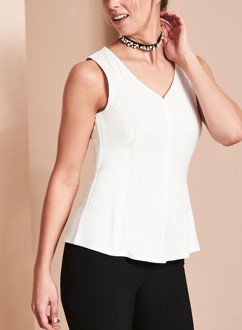 Sleeveless V-Neck Top , Off White, hi-res