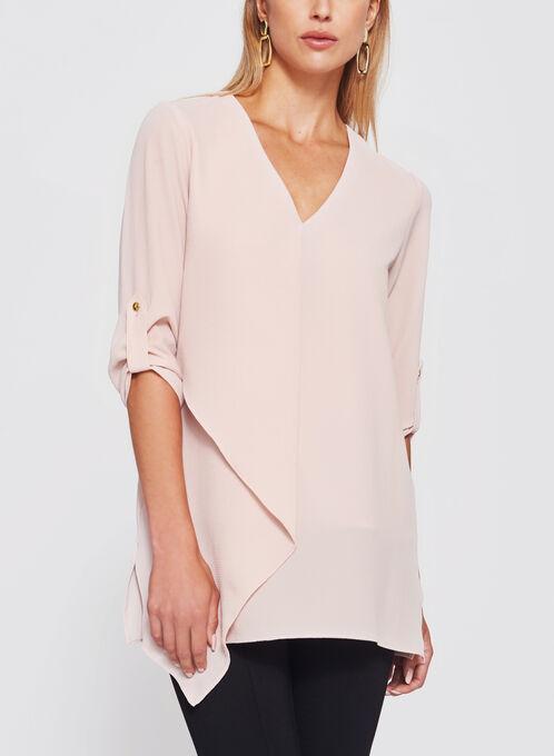 Asymmetric 3/4 Sleeve Crêpe Tunic, Pink, hi-res