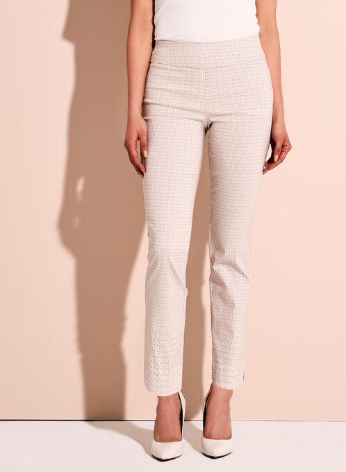 Geometric Print Slim Leg Ankle Pants, Brown, hi-res