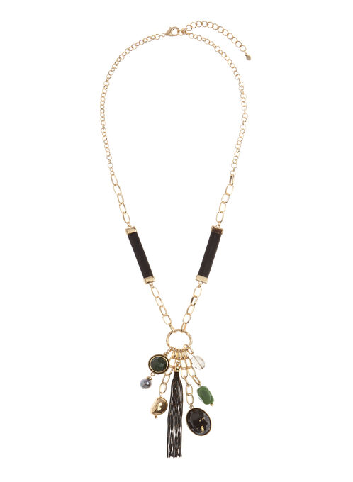 Mixed Stone Tassel Chain Necklace, Gold, hi-res