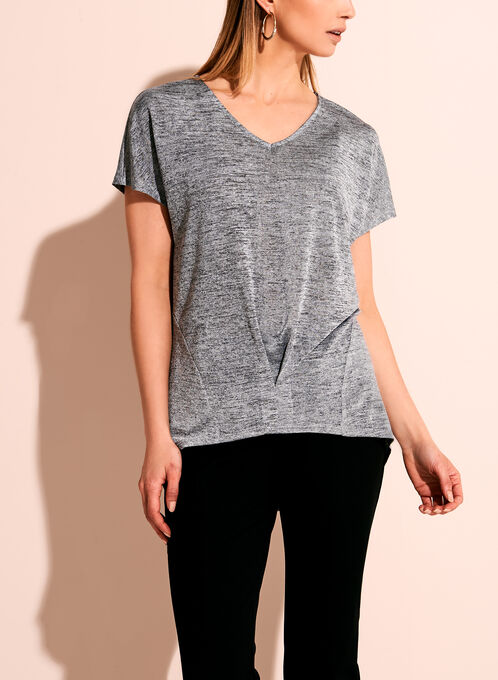 Short Sleeve V-Neck Oversize Top, Silver, hi-res