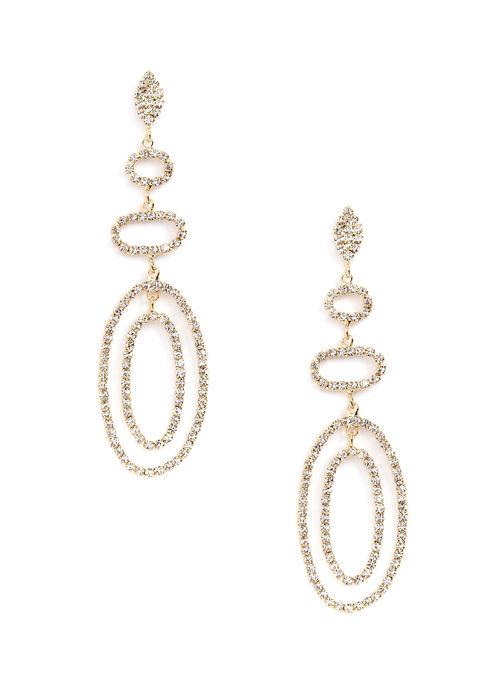 Tiered Crystal Chandelier Earrings, Gold, hi-res