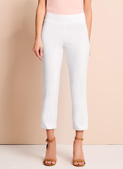 Pull-On Stretch Capri Pants, White, hi-res