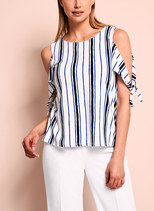 Stripe Print Cold Shoulder Top, White, hi-res
