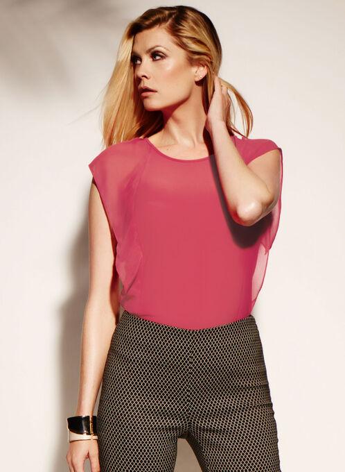 Chiffon Flutter Sleeve Top, Pink, hi-res