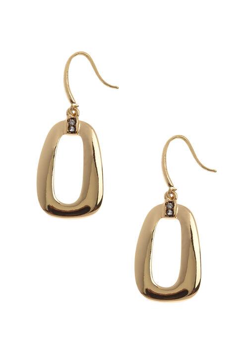 Open Geometric Dangle Earrings, Gold, hi-res