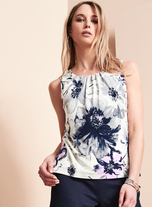 Sleeveless Floral Print Top, Purple, hi-res