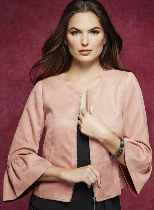 Faux-Suede Bell Sleeve Scuba Jacket, Pink, hi-res