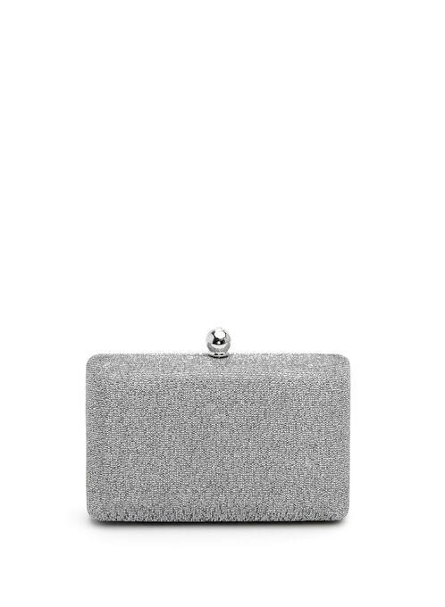 Glitter Box Clutch, Silver, hi-res