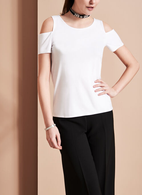 Crew Neck Cold Shoulder Top, White, hi-res