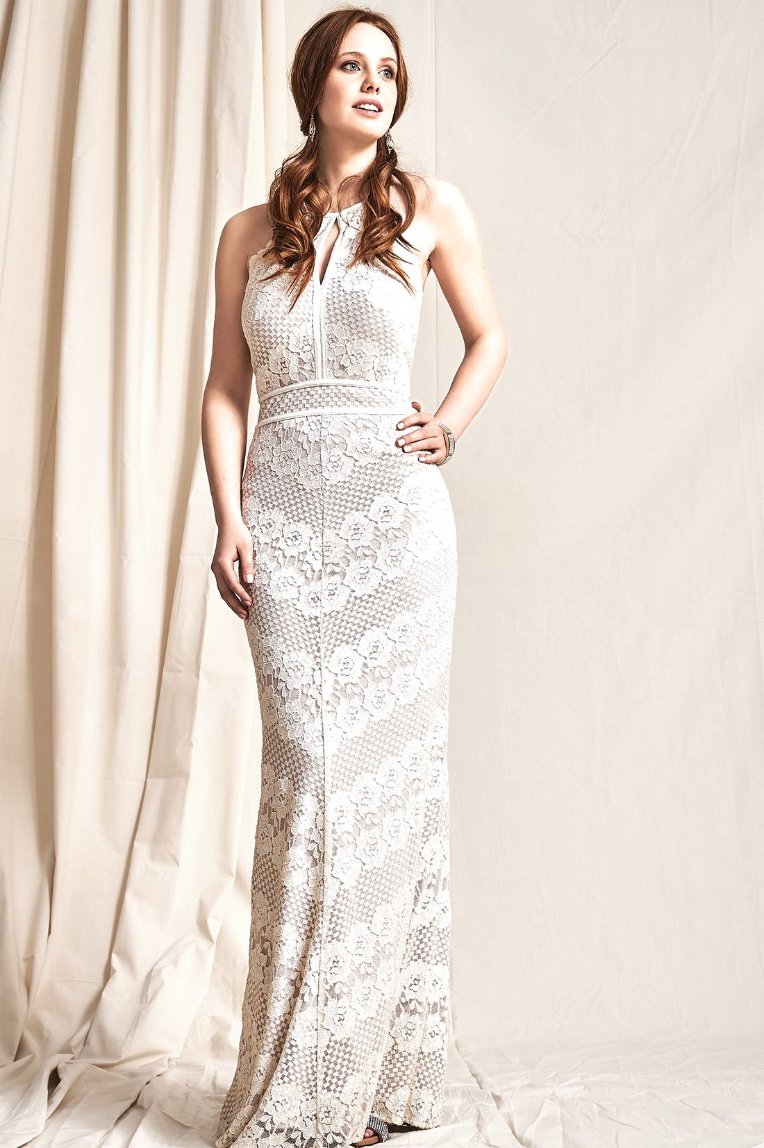 Sleeveless Lace Halter Neck Gown