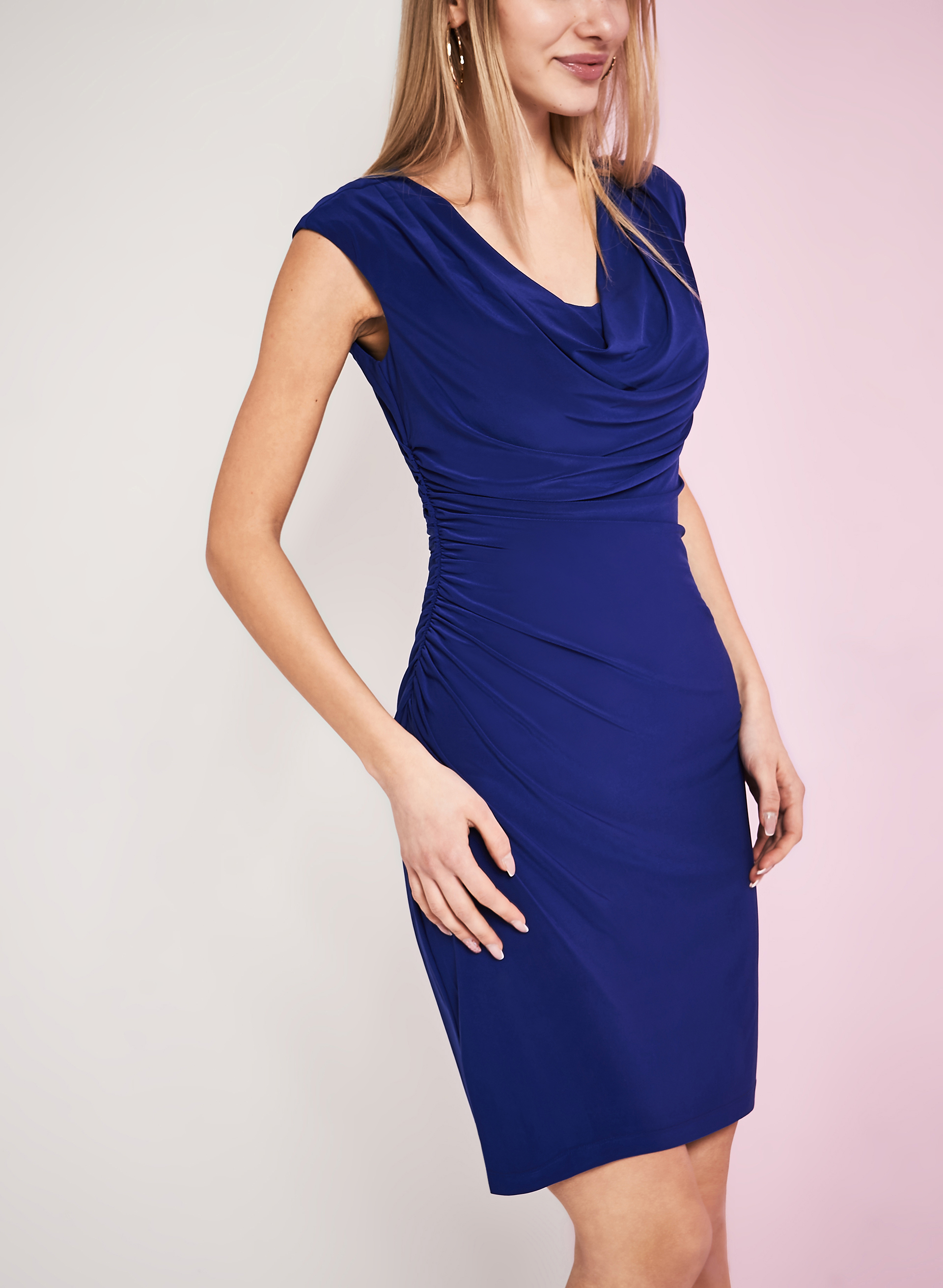 Ruched Jersey Dress, Blue, hi-res
