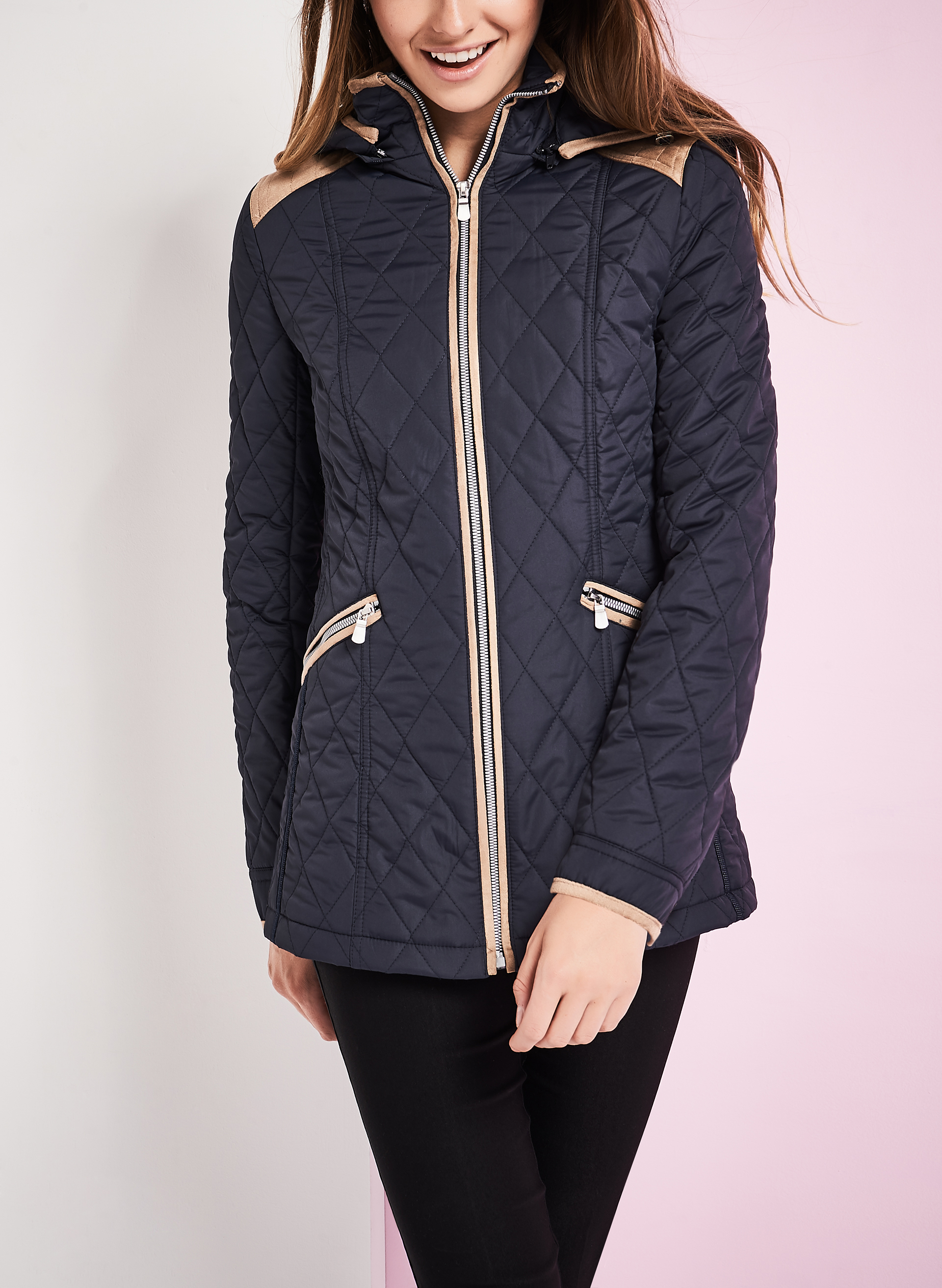 Novelti Diamond Quilted Coat, Blue, hi-res