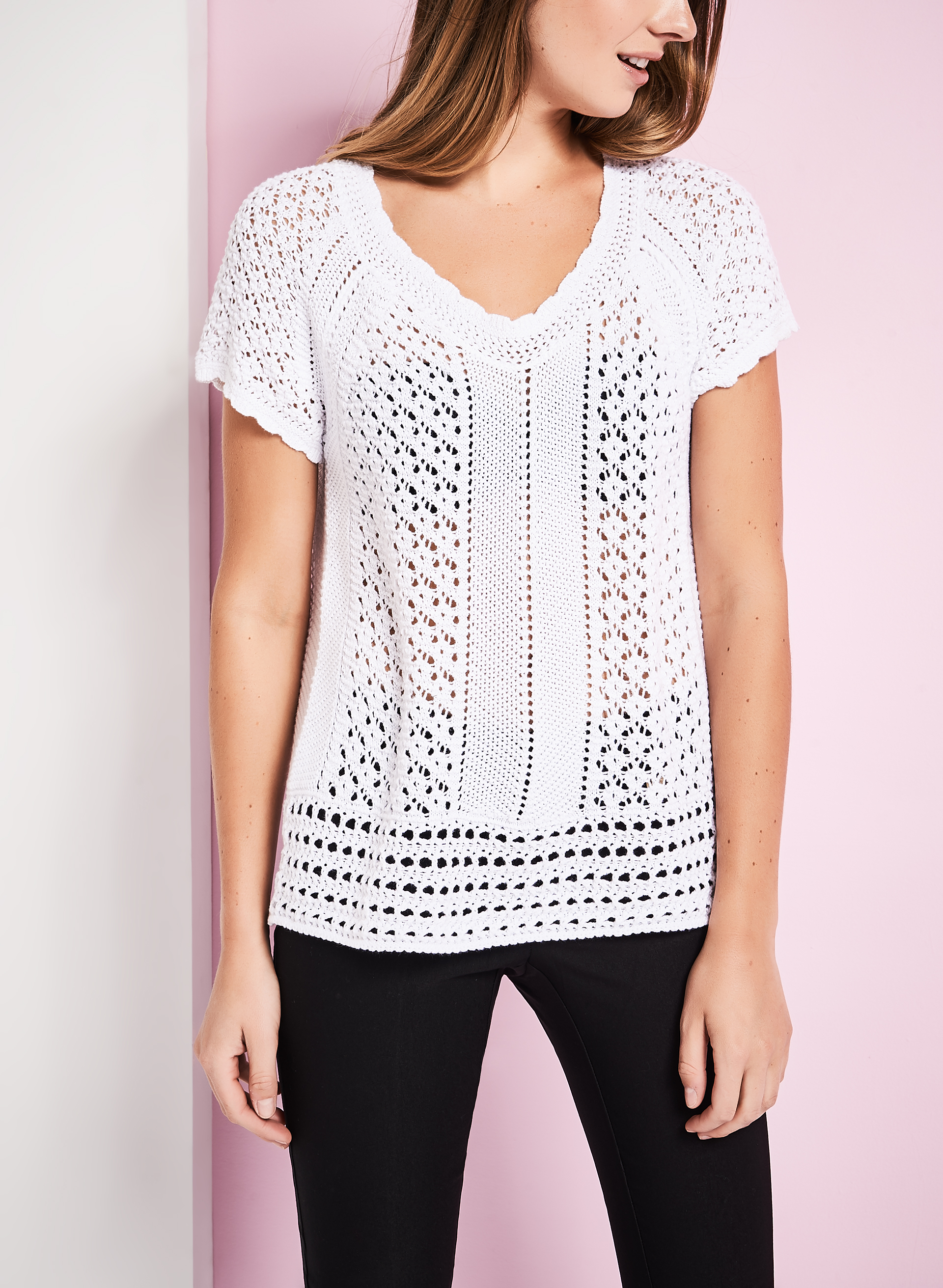 Short Sleeve Crochet Sweater, White, hi-res