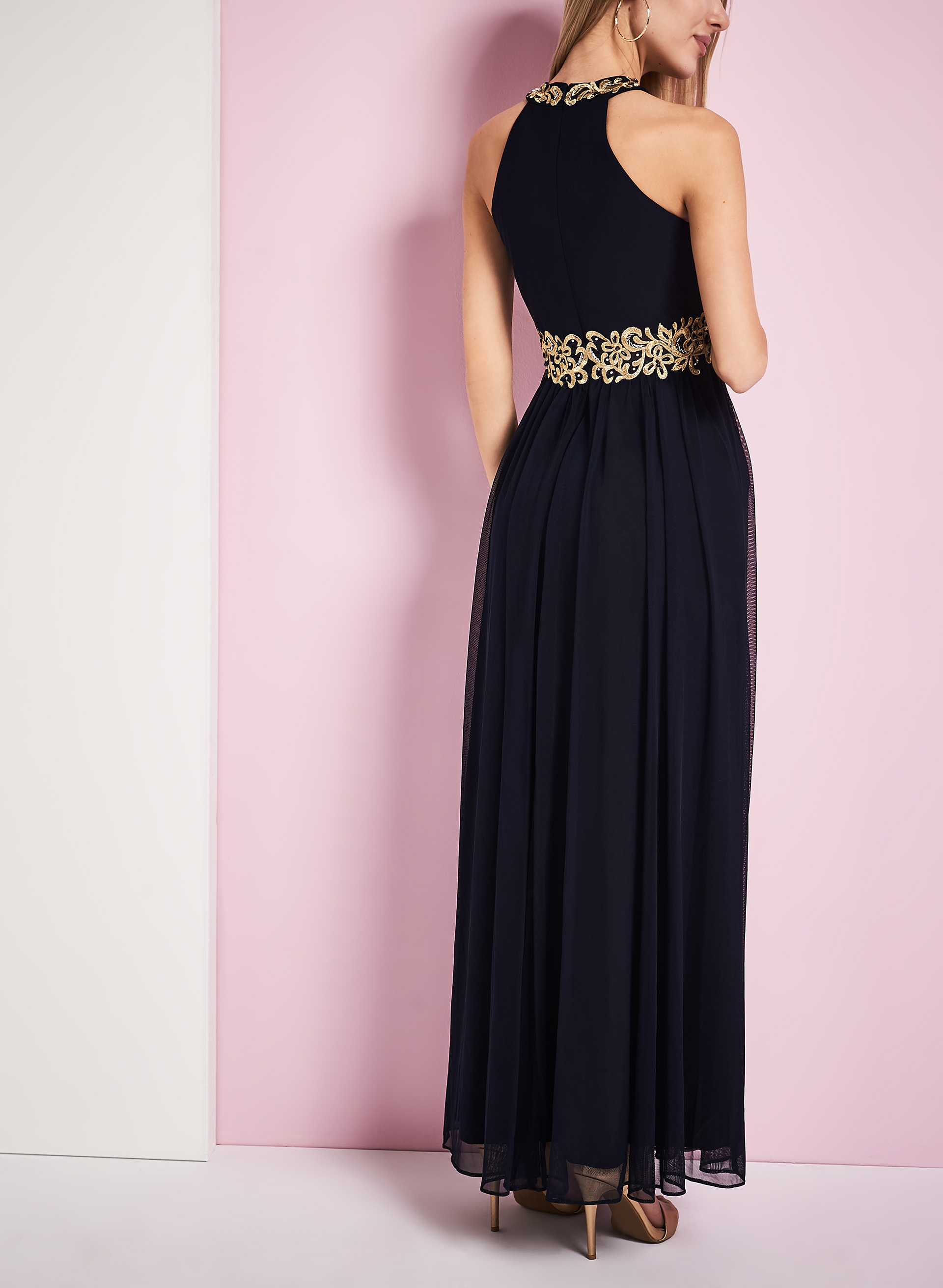 Embroidered Cleo Neck Gown, Blue, hi-res