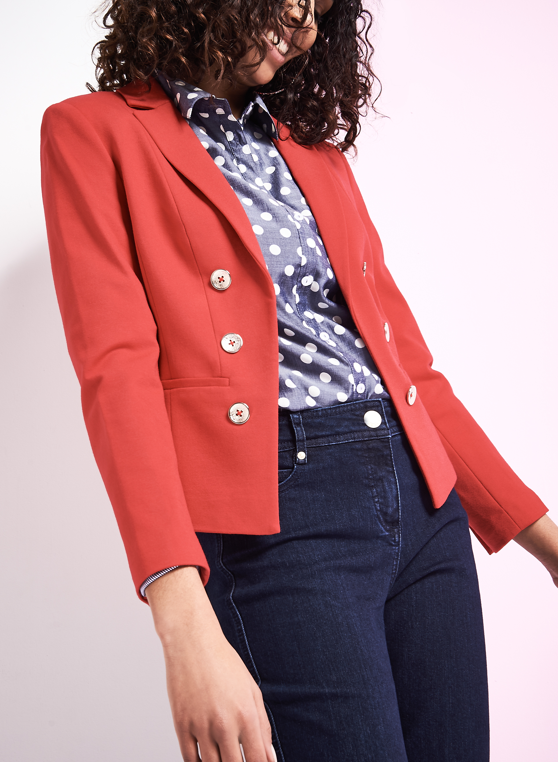 Ponte Button Trim Blazer, Red, hi-res