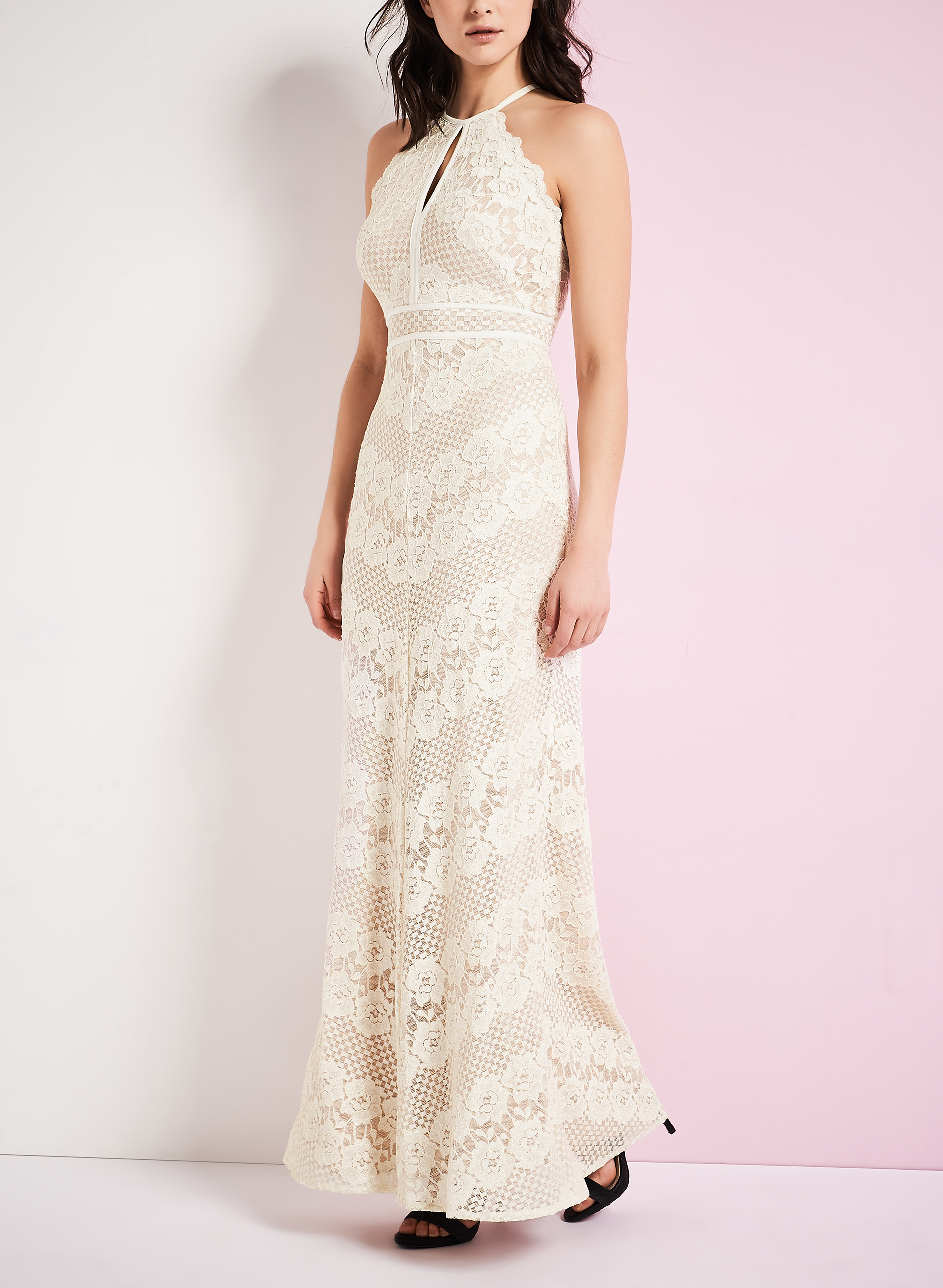 Sleeveless Lace Halter Neck Gown , Off White, hi-res
