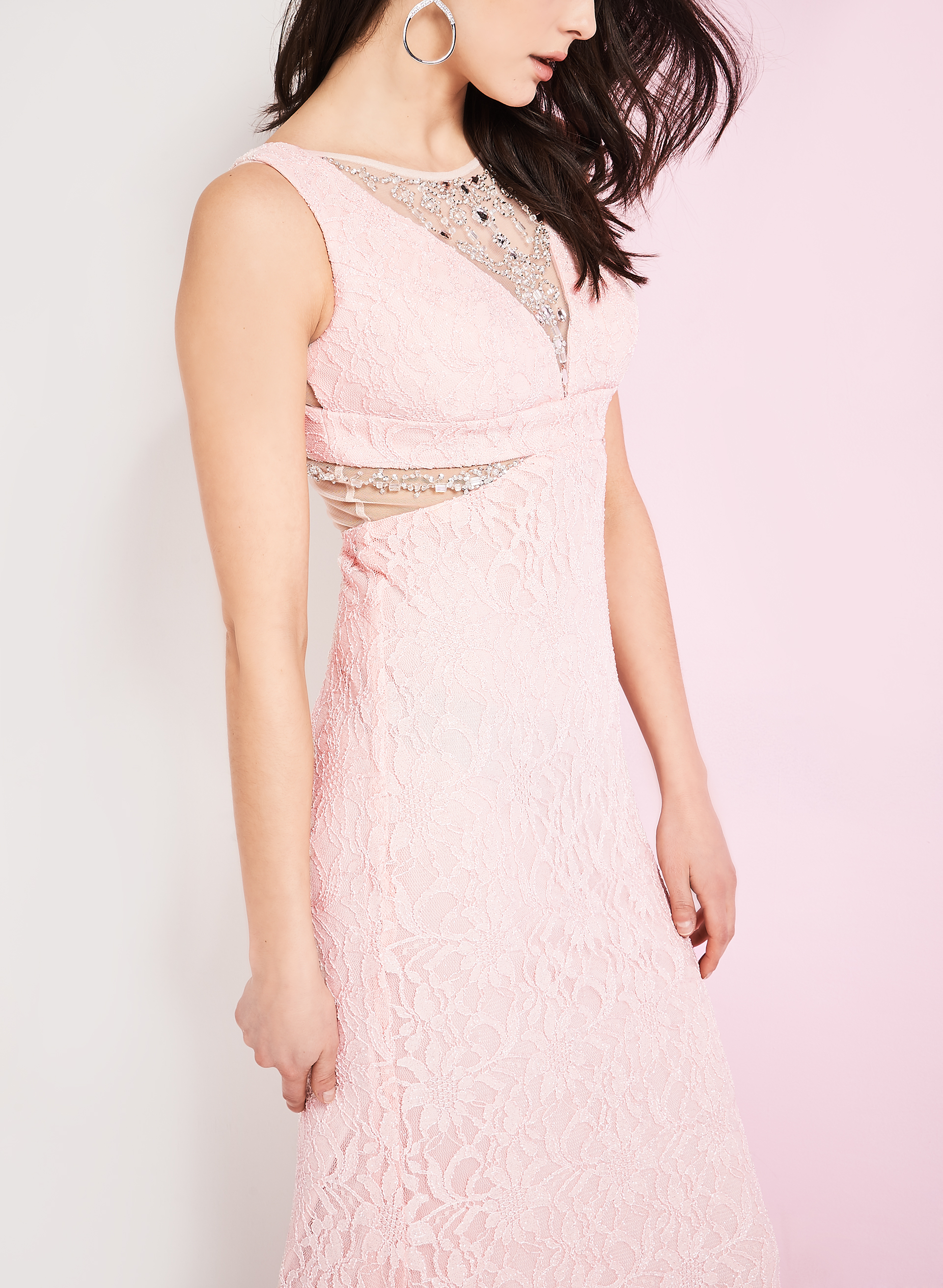 Beaded Glitter Lace Gown, Pink, hi-res