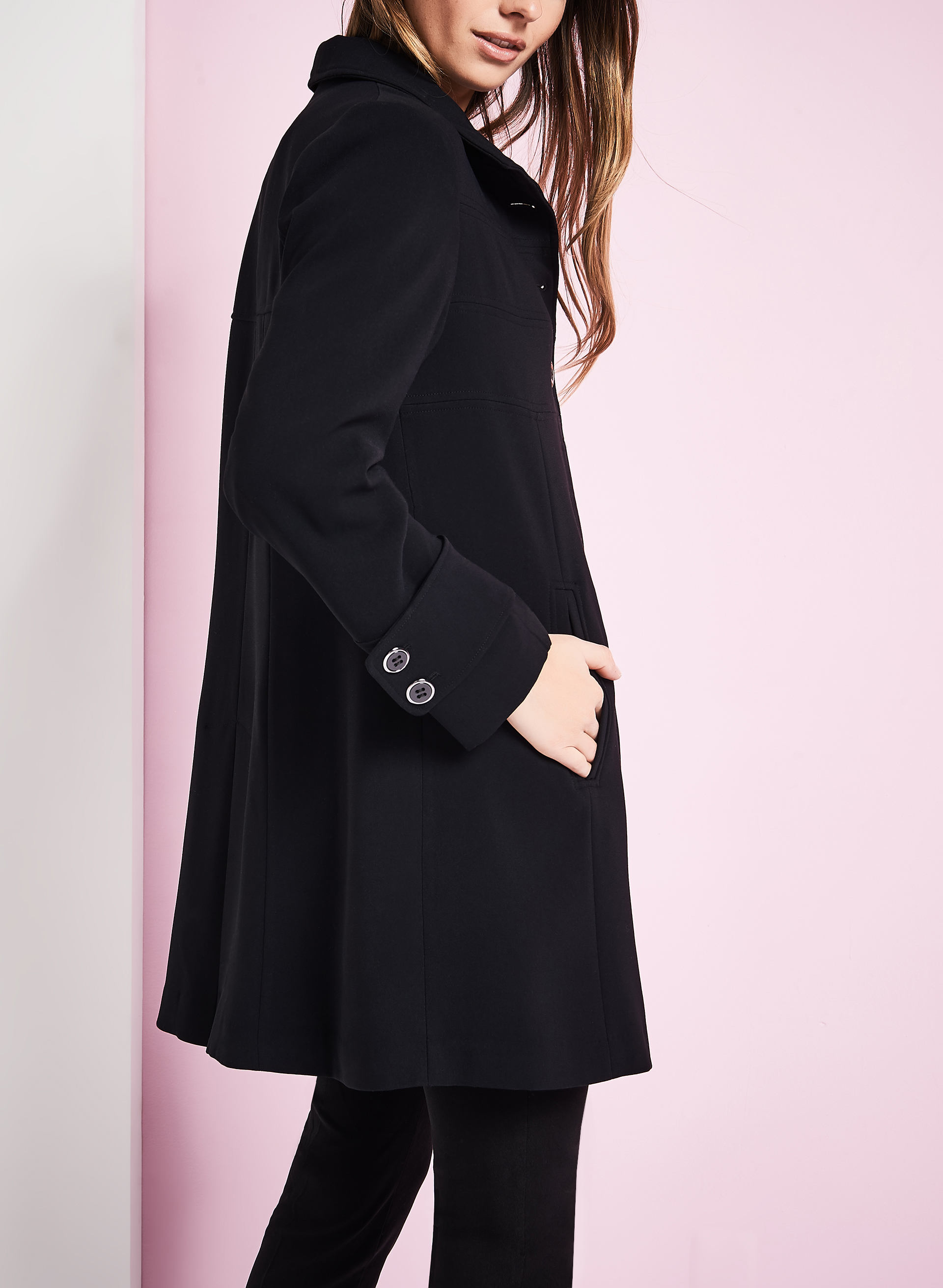 Triple Empire Stitch Coat, Black, hi-res