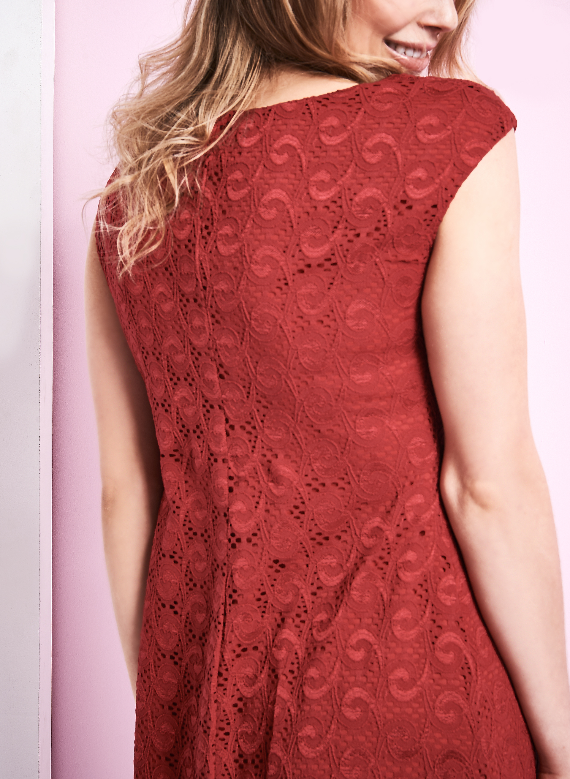 Extended Shoulder Lace Dress, Red, hi-res