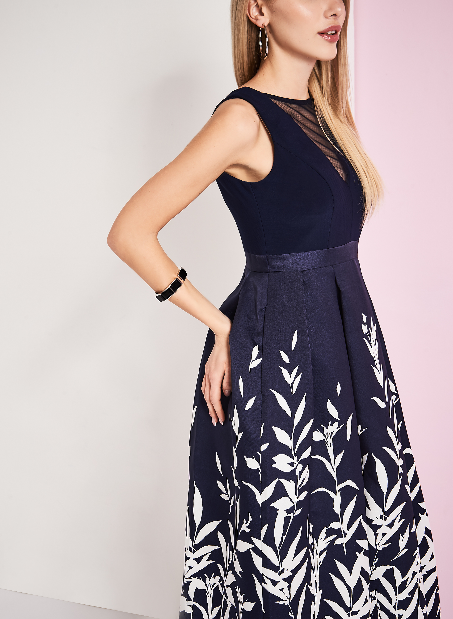 Fern Print Evening Gown, Blue, hi-res