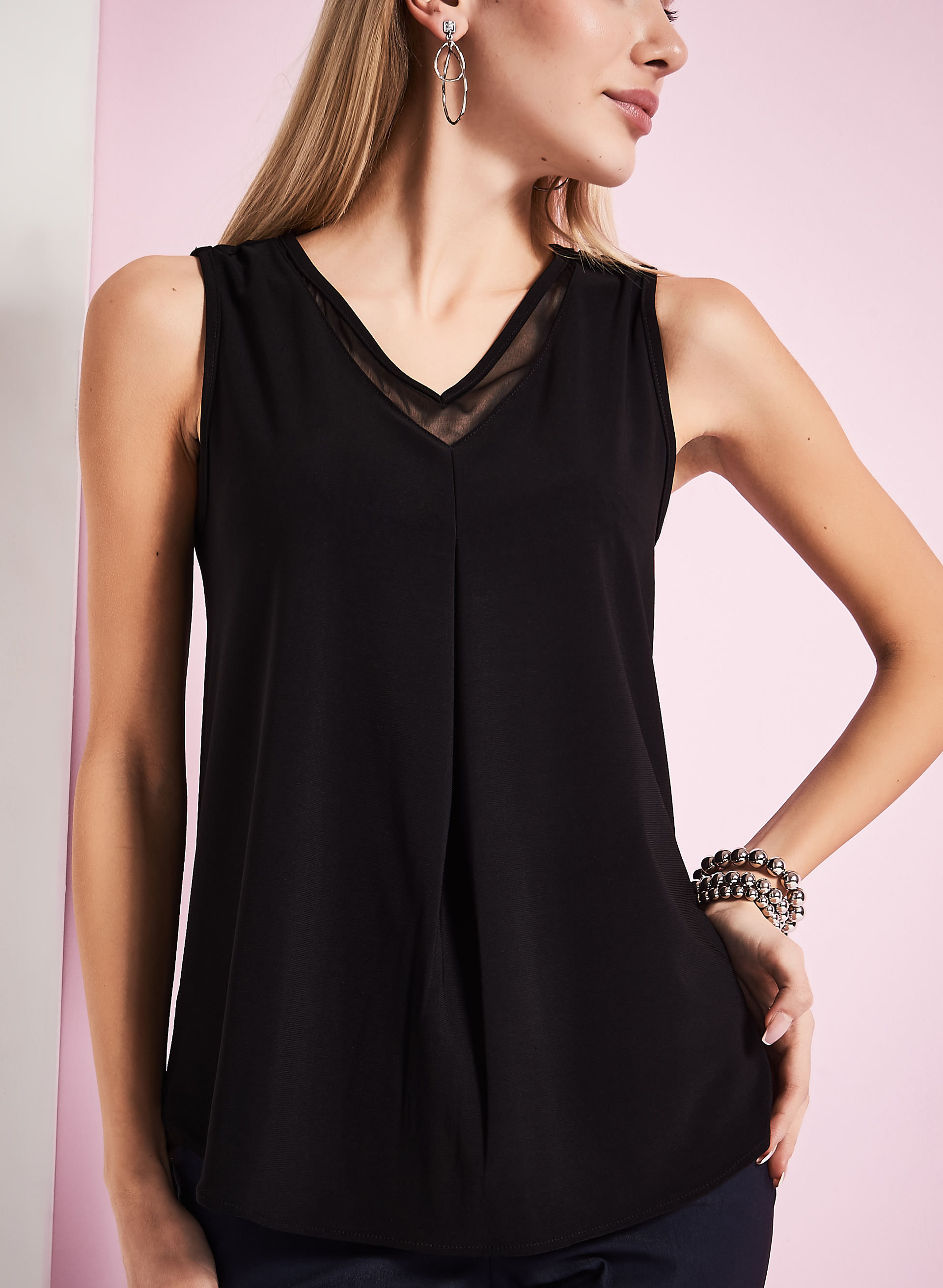 Mesh Trim Sleeveless Top, Black, hi-res