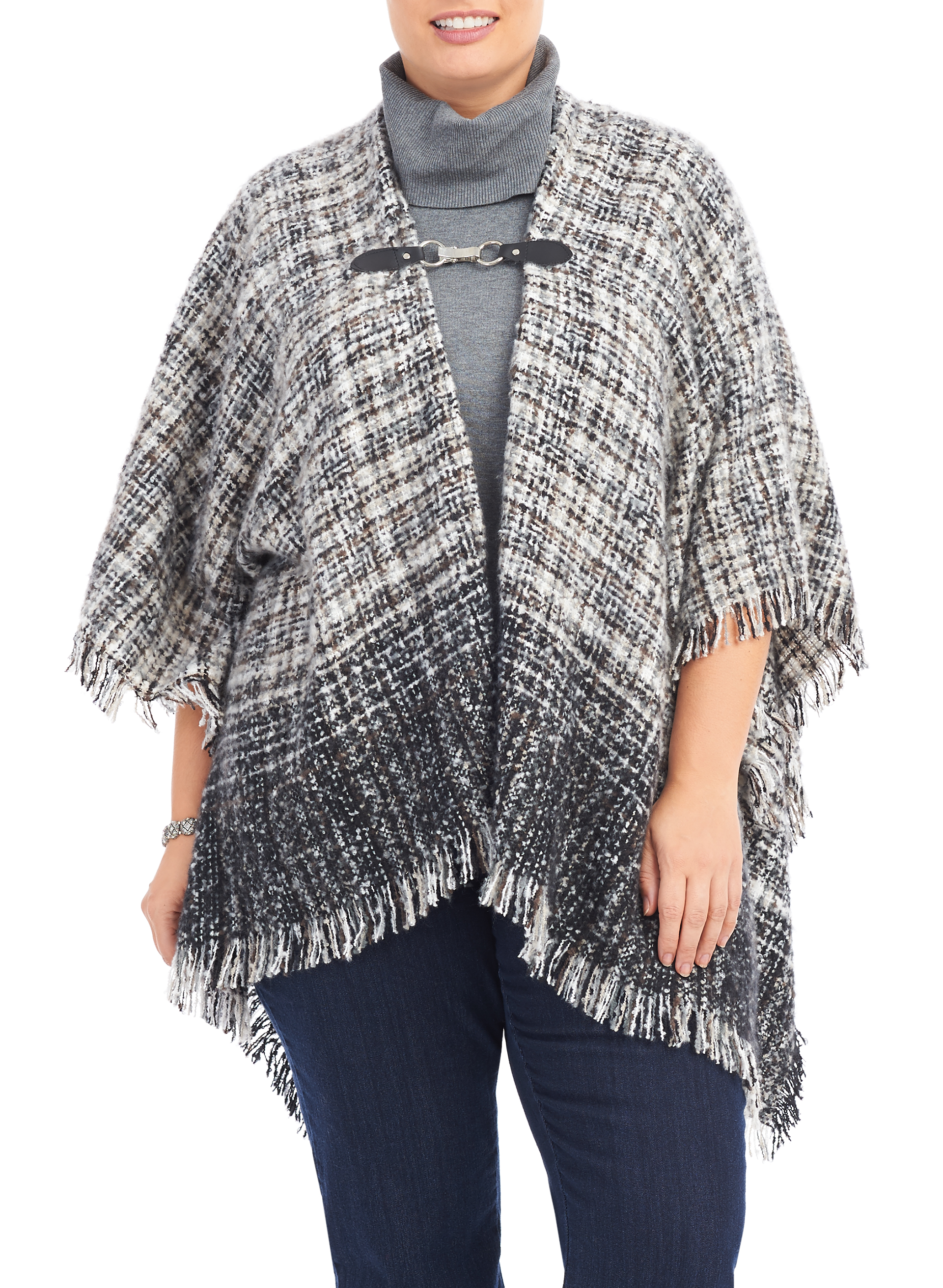 Degradé Plaid Wrap Scarf, Black, hi-res