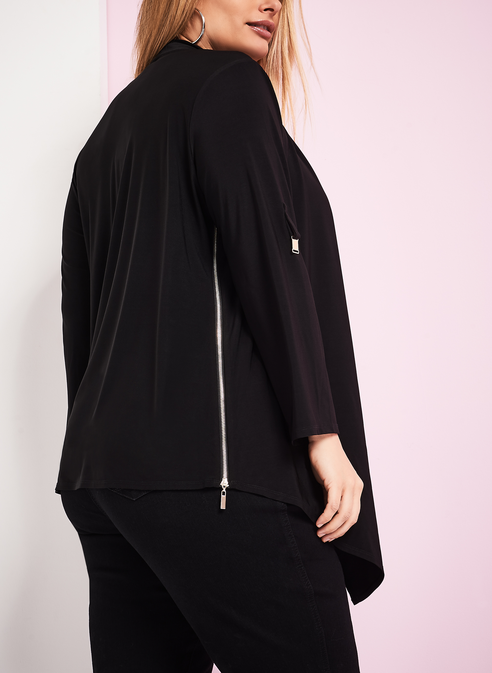 Side Zip Overpiece, Black, hi-res