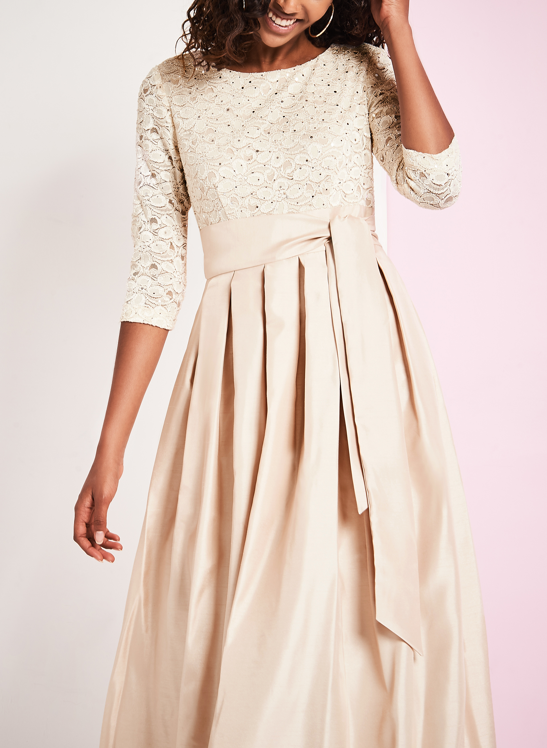 3/4 Sleeve Sequin & Lace Gown, Off White, hi-res