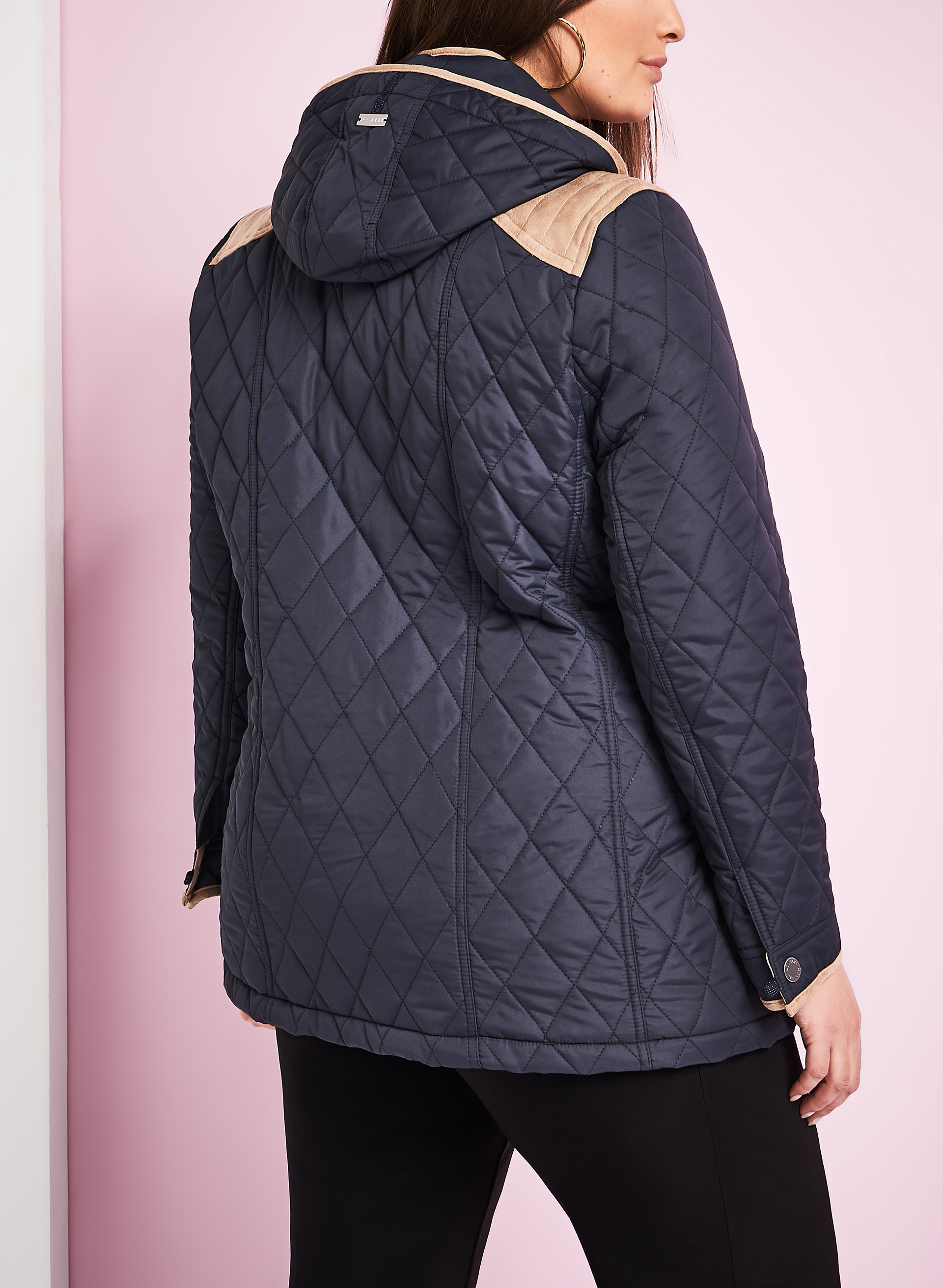 Novelti Quilted Faux Suede Coat, Blue, hi-res